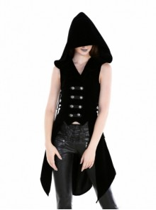 Gothic Black Uniform Style Womens Hooded Long Vest