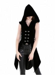Gothic Black Uniform Style Womens Hooded Long Vest