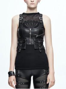 Black PU Pocket Top Short Gothic Womens Vest