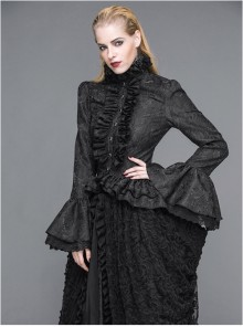 Steampunk Palace Style Ruffle Sleeve Stand Collar Gothic Womens Shirt