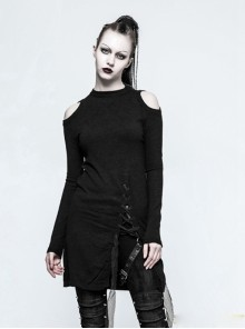 Gothic Black Standing Collar Women's Off-the-shoulder Sweater