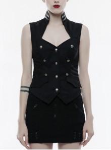 Gothic Black Military Uniform Women's Sleeveless Vest