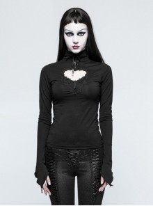 Gothic Prethoracic Hollow-Out Black Women's Long Sleeves T-shirt