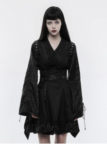 Japanese Style Black Jacquard Women's Gothic Kimono Top