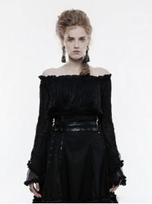 Gothic Black Lolita Women's Boat Neck Long Sleeves T-Shirt