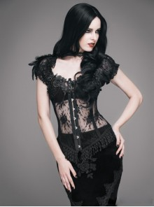 Gothic Black Floral Lace Corset Sexy Top