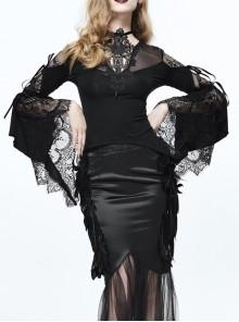 Gothic Black Back Translucent Lace Lace-up Long Sleeve Shirt