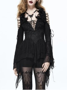 Gothic Black Slim Deep V-collar Extended Style Lace-up Long Sleeve Shirt