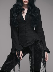 Punk Retro Black Slim Shirt Deep V-neck Tassel Long Sleeve Gothic top