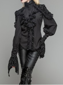 Gothic Black High Collar Ruffle Partial Skull Printing Long Sleeve Shirt