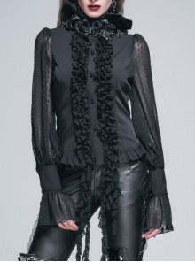 Gothic Punk Black Chiffon Flower High Collar Ruffle Long Sleeve Shirt