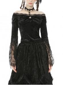 Victorian Elegant Gothic Black Lace Velvet Splicing Top