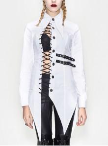 Gothic White Lapel Irregular Hem Slim Micro-elastic Lace-up Long-Sleeve Shirt