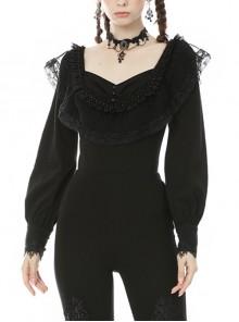Gothic Black Retro Square Neck Ruffle Long Sleeve Top