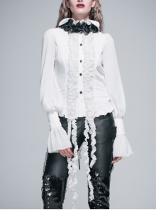 Gothic High Collar Black Rose Bow Tie White Chiffon Cloth Strip Long Sleeve Shirt