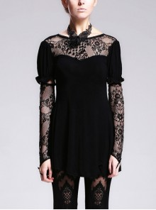 Gothic Black Lace Slim Short Sleeve Shirt Collocation Detachable Oversleeve And Necklace