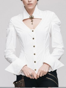 Gothic White Lapel Hollow Out V-neck Long Sleeve Shirt With Key Pendant Brooch