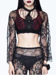 Gothic Sexy Black Lace Women's Super Short Openwork Sunscreen Long Sleeve Shirt