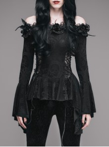 Gothic Flowers Collar Black Sexy Women's Off Shoulder Long Trumpet Sleeves T-shirt