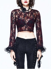 Gothic Visual Sexy Stitching Perspective Long Sleeves Red Lace Shirt