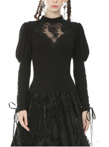 Gothic Sexy Black Hollow Out Rose Embroidery Long Sleeve T-shirt