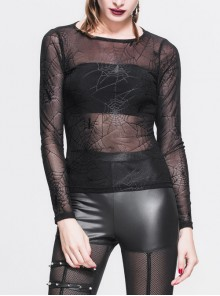 Punk Black Long Sleeve Lace Mesh Yarn Perspective Round Neck Gothic T-shirt