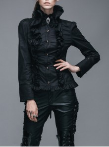 Gothic Ruffle High Collar Long Sleeve Slim Shirt