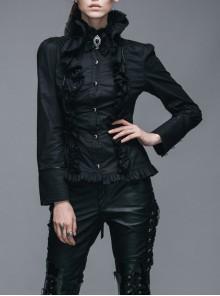 Gothic Ruffle High Collar Long Sleeve Slim Shirt