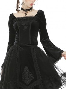 Retro Palace Gothic Embroidery Black Long Sleeve Top
