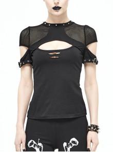 Gothic Black Short Sleeve Perspective Back Slim Vest