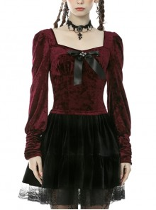 Gorgeous Wine Red Velvet Bowknot Long Sleeve Top