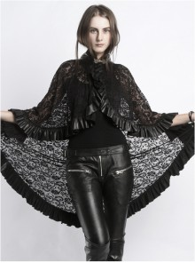 Steampunk Gothic Stand Collar Black Lace Women's Shawl