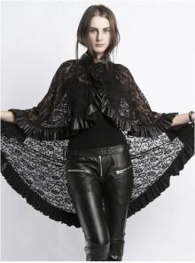 Steampunk Gothic Stand Collar Black Lace Women's Shawl