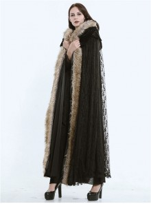 Steampunk Dark Mystical Fete Fur Collar Black Lace Gothic Women's Long Cloak