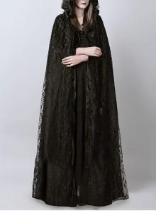 Steampunk Dark Mystical Fete Black Lace Gothic Women's Long Cloak