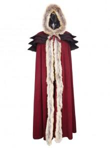 Gothic Red Wool Collar Women's Long Cloak