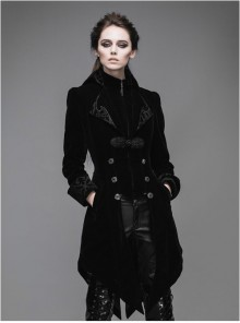 Steampunk Gothic Panne Velvet Medium Length Women's Tuxedo