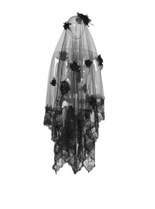 Black Lace Stereoscopic Flowers Gorgeous Gothic Veil