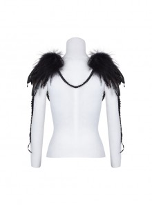 Palace Style Black Feather Leather Gothic Shoulder Knot