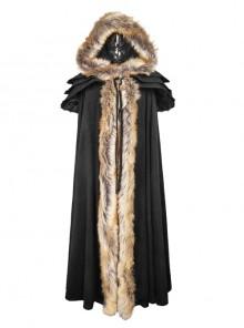 Wool Collar Black Gorgeous Gothic Long Womens Cloak