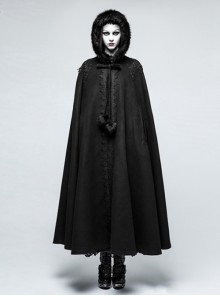 Palace Style Winter Black Gothic Womens Hooded Long Cloak