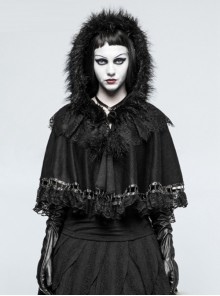 Black Pure Cotton Gothic Lolita Womens Little Cloak