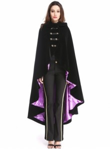 Black and Purple Woolen Gothic Womens Long Hooded Cloak
