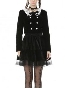 Retro Academy Doll Collar Bowknot Gothic Black Collar Jacket