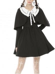 Nuns Prayer Style Gothic Long Sleeve Fake Two Pieces Shawl Coat