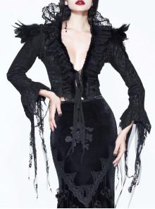 Gothic Black Lace Feather Decoration Slim Deep V-collar Irregular Cuff Jacket
