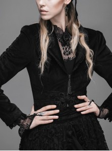 Gothic Black Lapel Slim Rose Decoration Lace Phoenix-tail Stitching Jacket