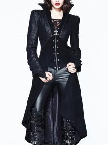Halloween Gothic Black Handsome Stand Collar False Two Pieces Slim Long Hem Windbreaker