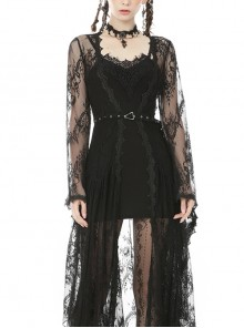 Gothic Sexy Black Lace Daily Home Elegant Long Outer Clothing