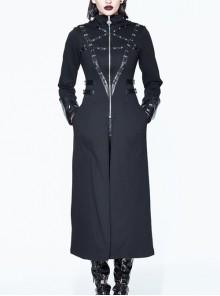 Halloween Gothic Black Metallic Skull Rivet Decorative Slim Hooded Long Windbreaker